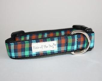 Navy/Green/Aqua/Rust Plaid DoG Collar