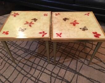 Vintage 1960's Mid Century Modern Fiberglass & Brass Butterfly Accent Tables