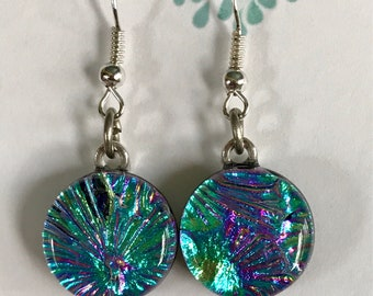 Teal and Pink Fused Glass Earrings