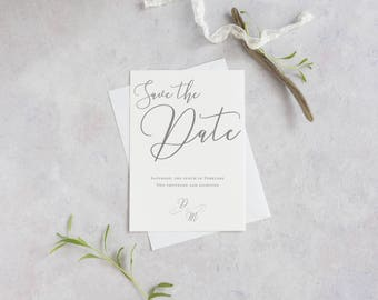 Minimalist wedding save the date, elegant save the date card, modern save the date, luxurious wedding stationery, printed save the date