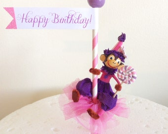 Purple/Pink Monkey Cake Topper