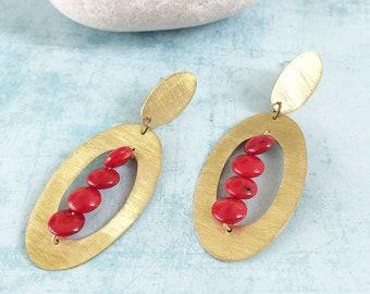 boho brass earrings - stud oval earrings - coral earrings -long geometric earrings -modern earrings -statement earrings - big brass earrings