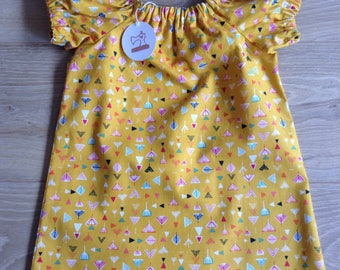 Simple Cotton Dress - girls age 6-12 months - mustard geometric