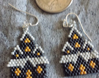 Hand Beaded Little Haunted House Earrings Brick Stitch Scary House Witch House