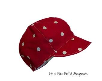 Baby Boy's Newsboy Cap, baby boy red spotty hat, Summer Hat, Boys Hat, Boys Cap, Baby Cap, Baby Hat, Baby Boy Hat, Christening Hat, baptism