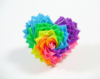 Neon Rainbow Spiral Duct Tape Heart Ring - Duck Tape Jewelry