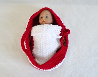 carrycot and blanket for doll of about 32 cm, doll accessories, girl gift, doll clothes, christmas gift, doll crib, doll blanket, doll cover