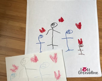 Cotton bag, nursery, child activity, daycare bag tote bag personalized child's drawing, unique bag, creative child, gift idea souvenir