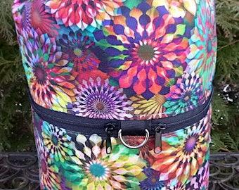 Large knitting bag, drawstring bag, knitting in public bag, large project bag, Pinwheels, Large Kipster