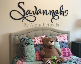 Name Sign for Nursery Wooden Letters for Nursery Girl Boy Alphabeticals Wall Letters Name Letters Wall Art Wall Decor Savannah Large Script & Letter wall art | Etsy