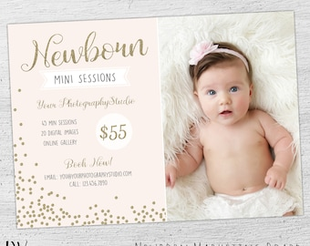 Newborn Mini Session Template Marketing Board, Photoshop Template for Photographers, Photography Marketing, Newborn Mini Session, 06-008