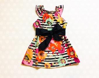 Stripe and Floral Dress - Baby Girl Dress - Girls Dresses - Sleeveless Dress - Summer Dress - Spring Dresses - Striped Dress - Handmade
