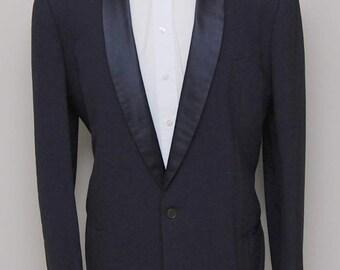 1950s men's blue wool tuxedo jacket/ 50s men's blue tux jacket/ After Six