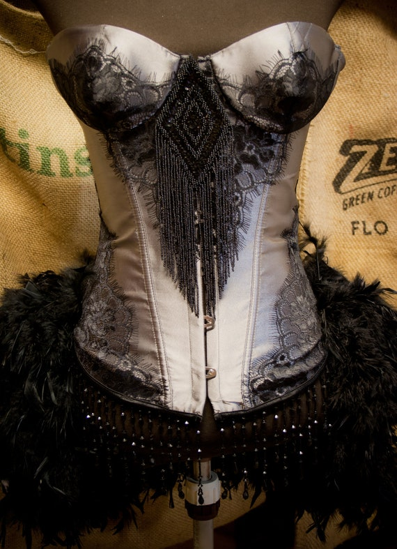 MISTRAL Black Grey Burlesque Corset Feather Costume Steampunk Gypsy Dress Halloween
