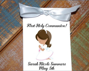 Personalized First Holy Communion Religious Flower Seed Packets Party Favors Baptism Confirmation Little Girl Praying Party Favors Keepsakes