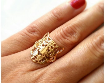 Ring gold plated Tiger 750/000 - leopard, Tiger adjustable size ring, plated 18 k - Tiger ring 18 k gold plated