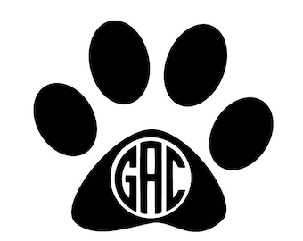 Paw Print Decal - Pet Owner Gift - Monogram Vinyl Decal - Phone Decal - Decal with Initials - Wall Art - Home Decor - Personalized Decal