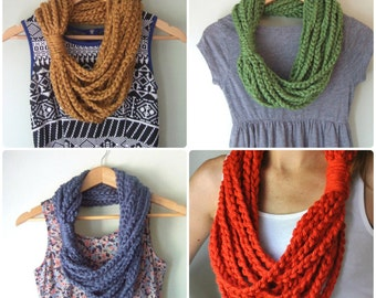 Chain Scarf Necklace / Made to Order / Mid Length / Infinity Scarf / Crochet Chain / Crochet Scarf