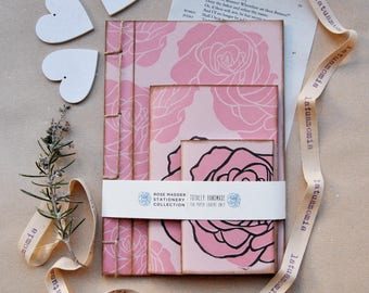 """Handmade stationery set with recycled paper, gift for her, handmade journal, writers journal, """"Rose Madder"""""""