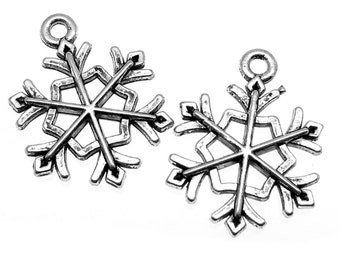 Antique Silver Snowflake Charms | Frozen Snow Winter Charms [Choose 1 piece or 10 pieces] -- Lead & Cadmium free 114.J6C
