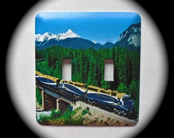 METAL Decorative Double Switch Plate ~ Train, Mountains, Light Switchplate, Switch Plate Cover, Home Decor