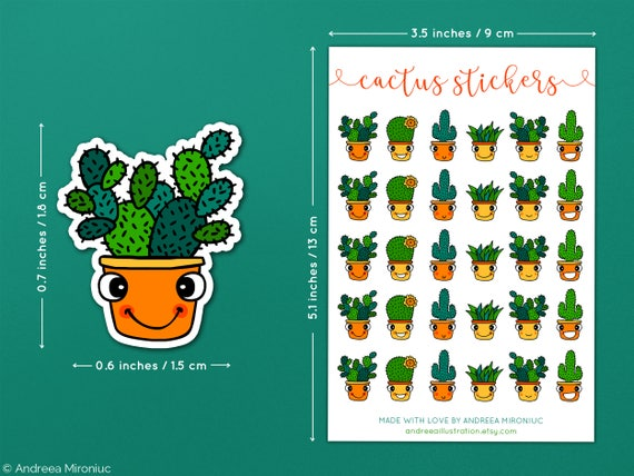 Cactus planner stickers cute succulent planner stickers stickers for personal planner cacti stickers pack cute cactus sticker bundle