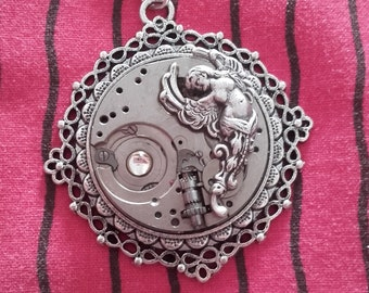 long necklace steampunk gears silver watch with woman Angel