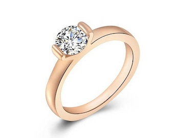 Single Zircon Ring, Wedding ring, Engagement Ring, Bridal Ring, Rose gold Ring, Christmas Gift,Simple Ring,Statement Ring