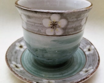 Cherry Blossom Design Oriental Cup and Saucer
