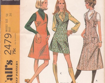FREE US SHIP Vintage Retro 1970's 70's McCall's 2479 Tab Side Button Jumper V Neck Patch Pockets Uncut Bust 36 Sewing Pattern ff
