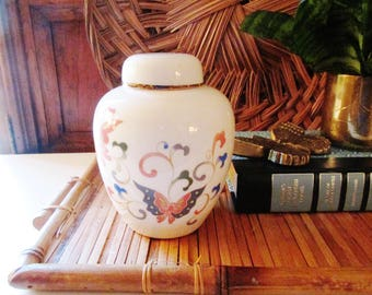 Otagiri Papillon Ginger Jar, Japan, Chinoiserie, Oriental Vase, Coffee Table Decor,