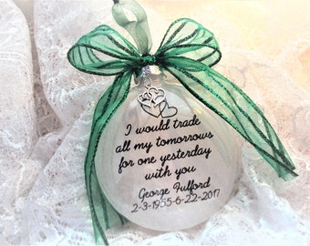 Memorial Ornament I Would Trade My Tomorrows, Double Heart Charm