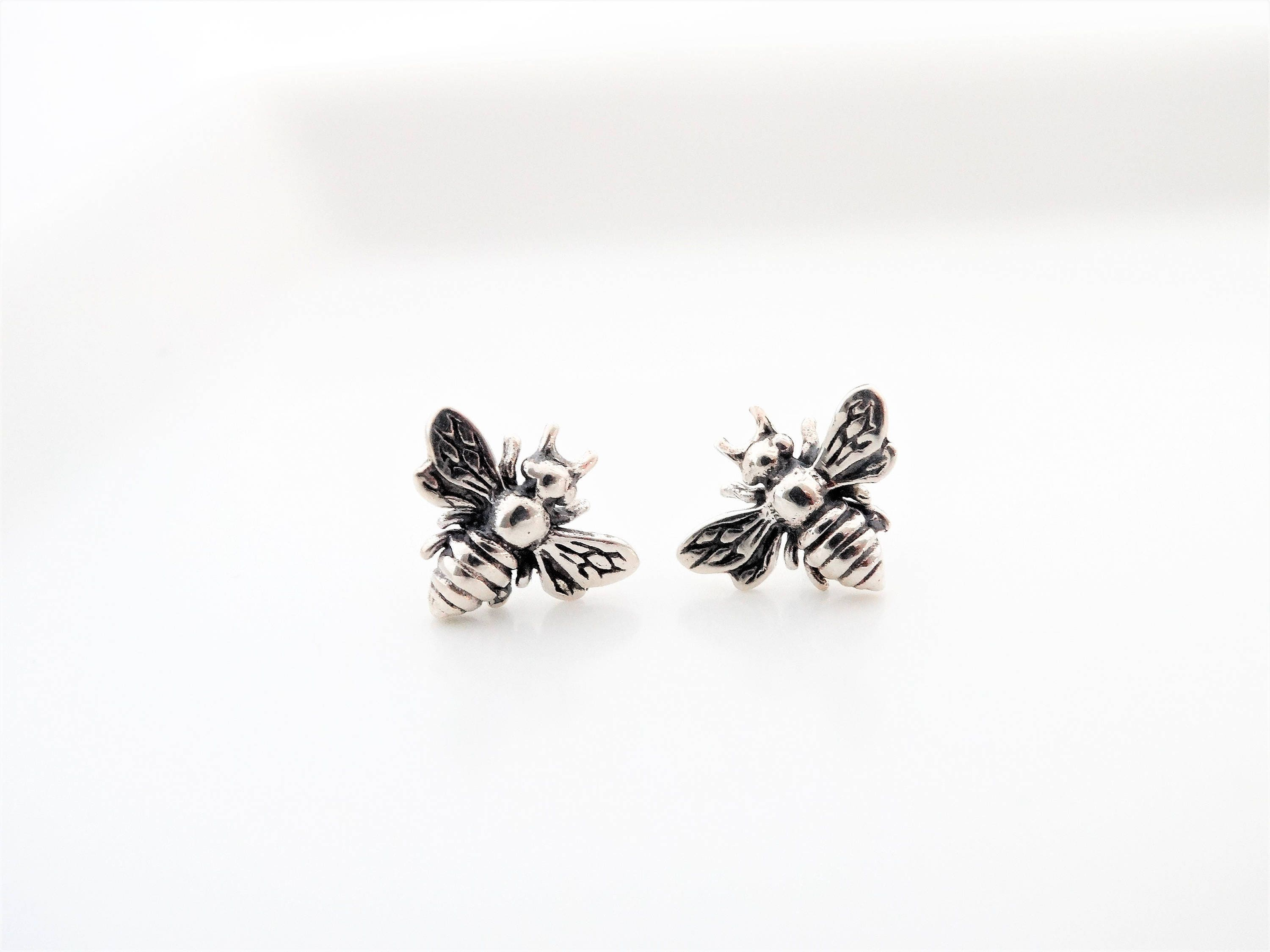 bee sterling stud earrings store silver