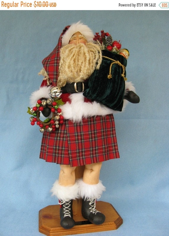 ON SALE Celtic Santa - Mailed Cloth Doll Sewing Pattern 22in Celtic Santa