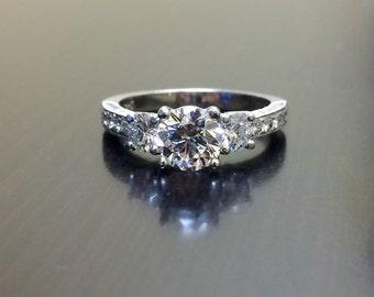 Platinum GIA Diamond Engagement Ring - Art Deco Engraved Platinum Diamond Wedding Ring - GIA Certified Diamond - Engagement Diamond Ring