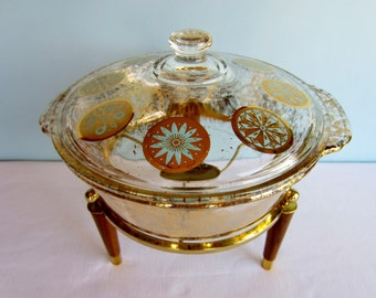Vintage Casserole Dish with Stand - Gold Fleck and Turquoise Decoration