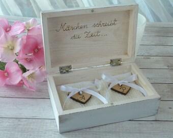 Ring Bearer Box Rustic Personalized Wedding Box Custom Ring Box Wedding Ring Box Wedding Ring Pillow Box Ring Holder Heart White Ring Box