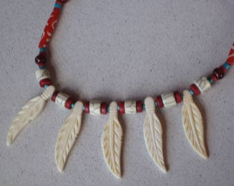 "NEW Southwest Buffalo Bone Feather & Horn Necklace 17-3/4"" Long, Turquoise, Coral, Native American inspired, Southwestern, Boho, Ethnic,"