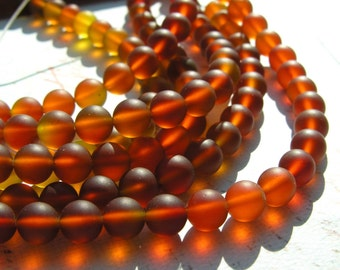 Dark Amber 8mm Frosted Glass Round Beads