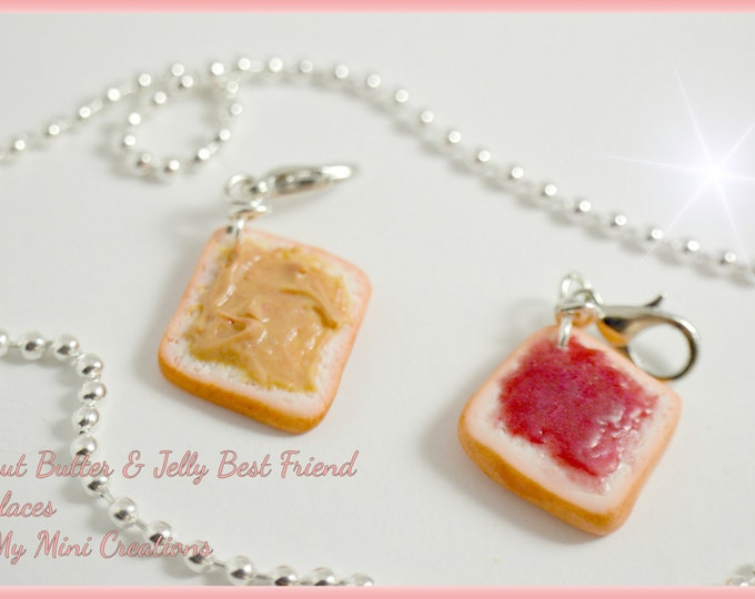 Peanut Butter & Jelly Best Friend Necklaces, Miniature food, Miniature Food Jewelry, Food Jewelry