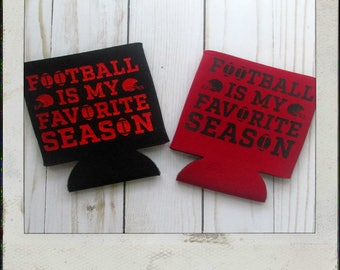 Red and Black Football Is My Favorite Season Can Cozy - Gameday Can Cozy - UGA Gameday - Texas Tech Gameday