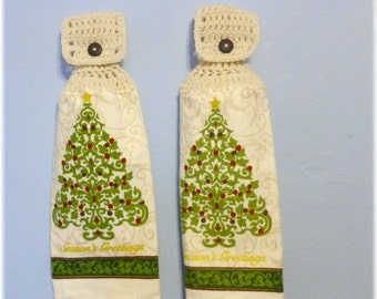 Hanging Kitchen Towels ,Crochet Button Top, Matching Pair, Hanging Kitchen Towel Set,Dish Cloths, Seasons Greetings Christmas Tree