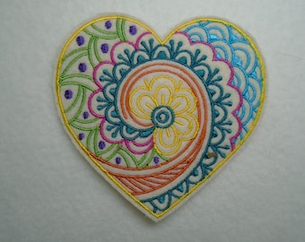 Mendi inspired Valentine Heart iron on patch or applique