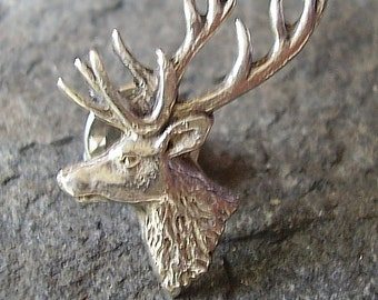 Sterling Silver Stags Head Tie Pin - Lapel Badge