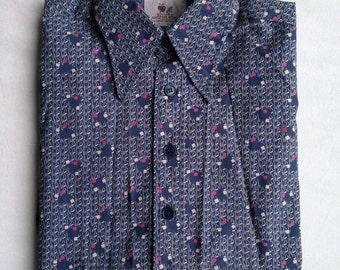Applebee slim fit navy blue shocking pink digi pattern long sleeves shirts