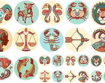 Zodiak keramische transfers, zodiac ceramic transfers, exotic transfers, astrology ceramic transfers glass pendants, decals for enamelling