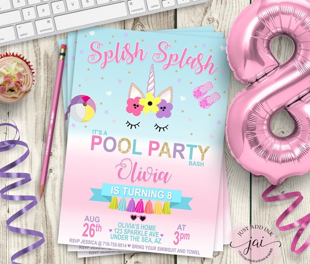PRINTABLE Unicorn Pool Party Invitation Unicorn Party