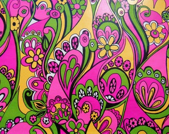 Vintage Psychedelic Gift Wrap, 70s Wrapping paper, New, Pink Yellow, All Occasion Disco Gift Wrap, Birthday Graduation Fathers Day Gift Wrap