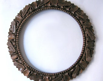 Frame for a round mirror or a tapestry, Wood carving, Handmade item, Mirror frame,   MADE TO ORDER