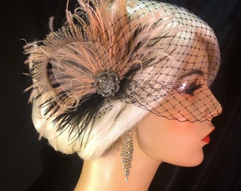Fascinator, Bridal Feather Fascinator, Black and Blush, Wedding Veil, Wedding Fascinator, Feather Fascinator
